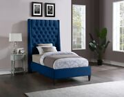 1pc Twin Size Bed Brass Nailheads Tufted Wing Headboard Navy Color Soft Velvet