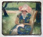 19th Century French Impressionism Portrait Woman In A Park Oil On Zinc Metal