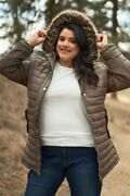 Plus Parallel Quilt Faux Fur Hood Belted Padded Long Puffer Jacket