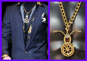 F/w 2014 Look 1 New Versace 24k Gold Plated Motorcycle Pendant Chain Necklace