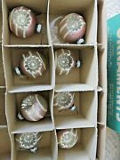 8 Vtg 50s Glass Shiny Brite Double Indent Flower Christmas Ornaments Mica Pink