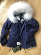 Mr And Mrs Italy Stone Blue Navy Canvas Park M White Raccoon Fur Trim Hood