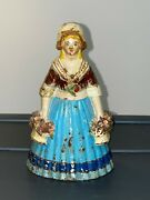 Cast Iron Woman Holding Two Flower Baskets 1270 On Back