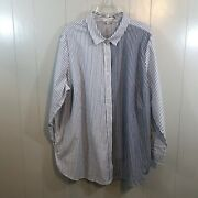 Woman Within White Blue Striped Button Down Long Sleeve Casual Top Plus 1x 22/24