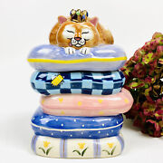 Gary Patterson Clay Design Royal Highness 3d Cat Treat Jar Canister Ceramic