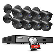 Sannce 5in1 8ch Dvr 1080p Outdoor Cctv Security Camera System 1tb Night Vision