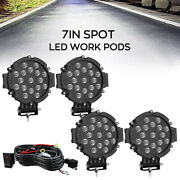 4x 7inch 51w Led Work Lights Spot Offroad Jeep Truck Atv Driving Lamps +wire Kit