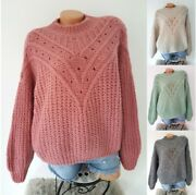 Made In Italy Lochajour Strick Pullover Strickpulli Mohair Wolle S/m 36 38 40 42