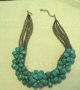 Retired Nakamol Crystal And Turquoise Floral Collar/ Bib Necklace /mint 17