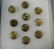 Rare Unique Vintage Civil War Coat Buttons Lot Of 10 Different States And Mfg