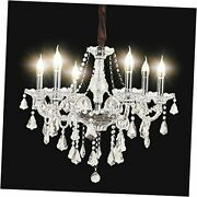 Modern K9 Christmas Tree Crystal Candle Chandeliers Lighting 6 Lights Clear