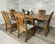 Antique Dining Table With Slide Out Leaves Oak With 6 Chairs Set