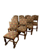 Antique French Tudor Dining Chairs, Set Of Ten, Oak, 1920's, 11675