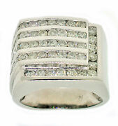 3.00ct Round Channel Set Diamond Menand039s Ring In 14k White Gold