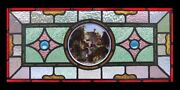 Painted Cottage By Lake English Victorian Antique Stained Glass Window