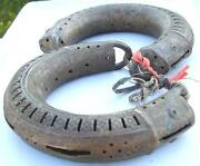 Rare Ancient Antique Huge Brass Anklet Bracelet Pair Rajsthan India