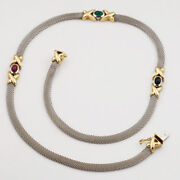 14k 2-tone Gold Accents Gem Stones Kiss And Hug Motif Mesh Chain Necklace 17 1/4