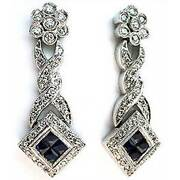 14kt Hanging Sapphire Earrings Antique Style With Diam