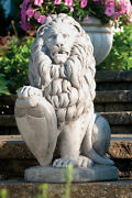 Pair Of Lions With Shield Outdoor Cement Garden Statue