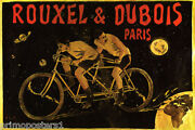 Rouxel Dubois Paris Bycycle Riding Out On Space Double Bike Vintage Poster Repro