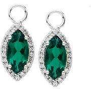 14 Kt White Gold And Diamond And Chatham Emerald Add To Hoop Earring Charms New