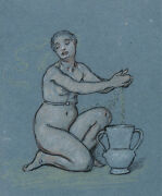 3686.nude Lady Blue Drawing Poster.decorate Home Interior Design Wall Art Decor