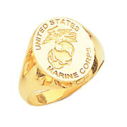 New Menand039s 10 Or 14k Yellow Gold Us Marine Corps Usmc Military Signet Ring