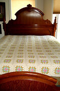 Vintage Mormon Craftedhand Crochet Flower Patch 169 Bedspread84 X 76 Used