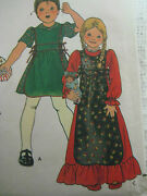 Vintage Butterick 5660 Toddler Long Dress And Apron Sewing Pattern Sz 2 Child Girl
