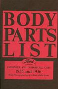 1935 1936  Ford Model A Body Parts List-covers Passenger And Commercial Cars