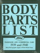 1939 1940  Ford Model A Body Parts List-covers Passenger And Commercial Cars