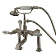 Kingston Brass Deck Mount Clawfoot Tub Faucet And Hand Shower Satin Brushed Nickel