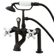 Kingston Brass Deck Mount Clawfoot Tub Faucet And Hand Shower Oil Rubbed Bronze