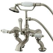 Kingston Brass Deck Clawfoot Tub Faucet With Hand Shower - Satin Brushed Nickel