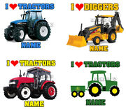 I Love Tractors Iron On Transfer Personalised Free - For T-shirts Etc - Bcv3