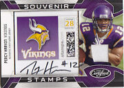 2009 Percy Harvin Auto Jersey Rc 10/20 Certified Souvenir Stamp 24