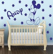 Mickey Mouse With Personalised Name Wall Sticker Decal Custom Bespoke Disney K12