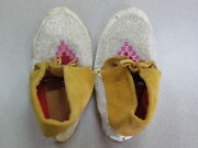 11 Native American Full Beaded Tan Hide Moccasins, Multicolored Pink And Red