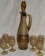7 Pc. Bohemian Style Gold, Floral And Amber Frosted 16 Decanter Bar Set 6 Stems