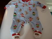 My First Christmas Carters One Piece Size 0-3 Months Sleepwear With Santa Feet