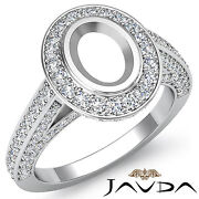 Halo Pre-set F-g Color Diamond Engagement Oval Semi Mount Ring 1.25c 14k W Gold