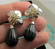 And Co Vintage Sterling Silver And 18k Gold Ivy Onyx Drop Pierced Earrings