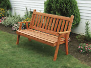 Outdoor Cedar 4 Ft Traditional English Garden Bench 8 Stain Colors Made In Usa
