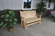 Outdoor Cedar 4 Foot Fanback Porch Glider 8 Stain Colors Made In Usa