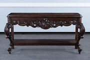 Baroque Carved Console Table Sofa Table Walnut Stained Finish Bg