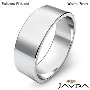 7mm Plain Band Solid Platinum Menand039s Wedding Flat Pipe Cut Ring 12.1gm 11-11.75