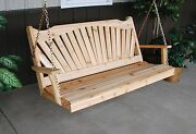 Classic Outdoor Cedar 6 Foot Fanback Porch Swing 8 Stain Colors 6 Ft Swing