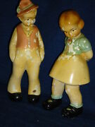 Vintage Old German Boy And Girl Chalkware Figurines Made By Coventry Ware