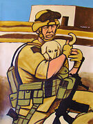 Soldier With Puppy Painting Marines Military History Dog War Uniform Rifle