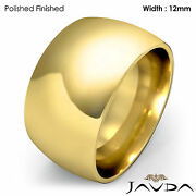 Huge Menand039s 12mm Solid 18k Gold Yellow Plain Dome Wedding Band Ring 22gm 11-11.75